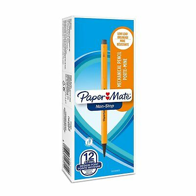 Paper Mate Non-Stop Mechanical Pencils Yellow 0.7mm HB 12 Pack 10701