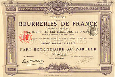 Creameries of France  > 1910 Paris France stock certificate