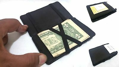 Quality Leather Money Clip and Credit Card Holder/ Genuine Leather Magic Wallet