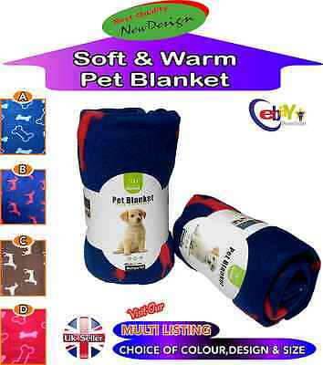 Soft Cosy & Warm Fleece  Pet Blanket Choice Of 4 Colours Dog Puppy & Cat Animal