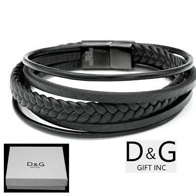 DG MEN S SILVER Stainless~Steel Black Braided Leather.Magnetic.8 ... 9356ee02f84