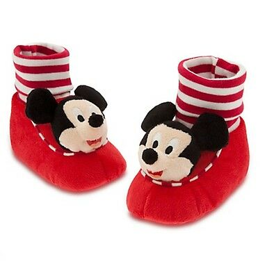 9b8668067391 Disney Store Mickey Mouse Red Plush Baby Shoes Slippers Size 6 12 18 24  Months