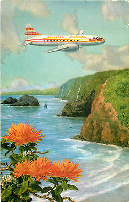 CONVAIR 340 over the POLOLU VALLEY ~HAWAIIAN AIRLINES~ Beautiful Old Postcard