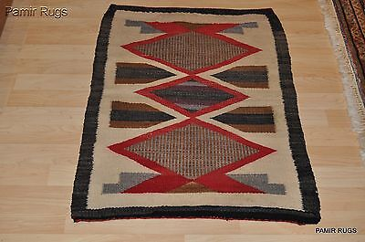 Antique Authentic Native America Indian Navajo rug Handmade Hand woven wool