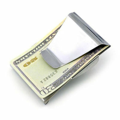 New Stainless Steel Slim Money Clip Double Sided Credit Card Holder Wallet