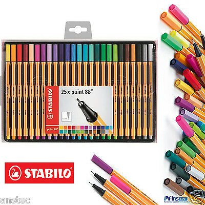 25 STABILO Point 88 Fineliner Ballpoint Pen - Assorted Colours Box of 25
