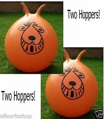 """2 x Retro Space Hoppers.  24"""" Adult Large Orange Spacehoppers with pumps / Boxed"""