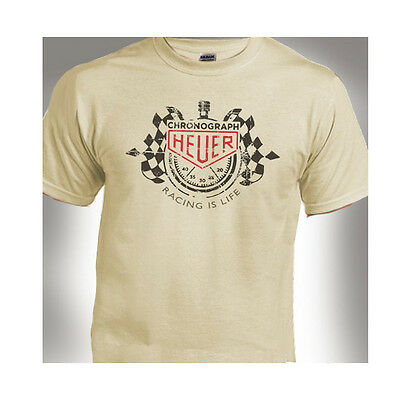 Racing Is Life Tag Heuer  Classic Distressed Print Natural T-Shirt