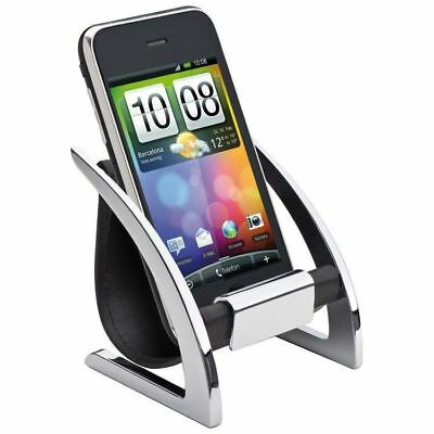 Mobile phone holder made of chromed metal and PU - Chair Stand Office Desk