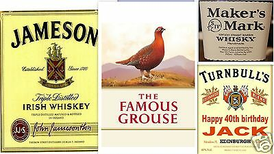 Famous Grouse/Jameson & more whisky edible birthday cake topper - add message