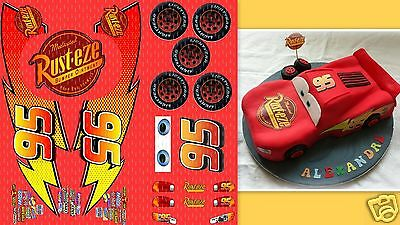 "CARS LIGHTNING MCQUEEN EDIBLE BIRTHDAY CAKE TOPPER DECORATION ""edible labels"""