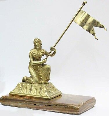 Interesting old woman with flag allegory French bronze small figure