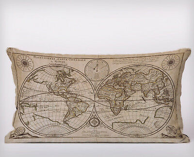 Vintage World Map - Long Cushion Covers Pillow Cases Home Decor or Inner