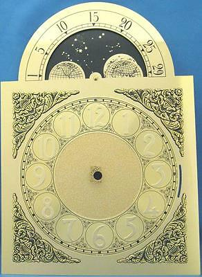 """Hermle  Grandfather Clock Dial 451-050 NEW Brass Color Moon 13 7/8"""" x 9 7/8"""""""
