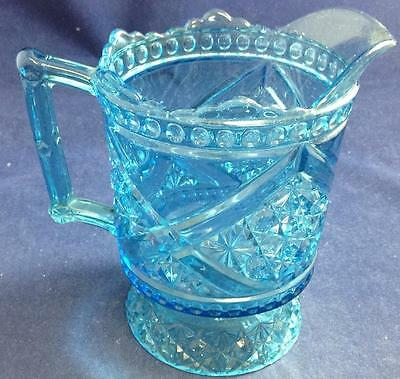 Beatty DAISY & BUTTON WV Ornament Blue Pitcher Vasoline GREAT CONDITION
