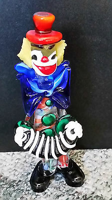 Italian Murano Bow Tie Accordion Clown 9 .5 inches tall