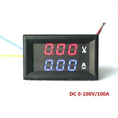 4pcs Car LED Digital Ammeter Voltmeter DC100V 100A Amp Volt Current Red Blue