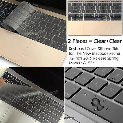 """2-Packs Clear Silicon Keyboard Cover Skin for Apple Macbook Retina 12"""" inch 2015"""