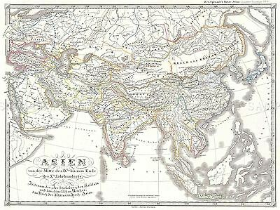 1855 Spruner Map Asia In The 9Th And 10Th Centuries Poster Picture 2926Pylv