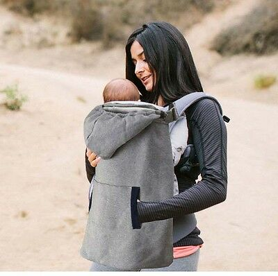 mum outside grey fleece hooded baby warm cover windproof cozy for baby carrier