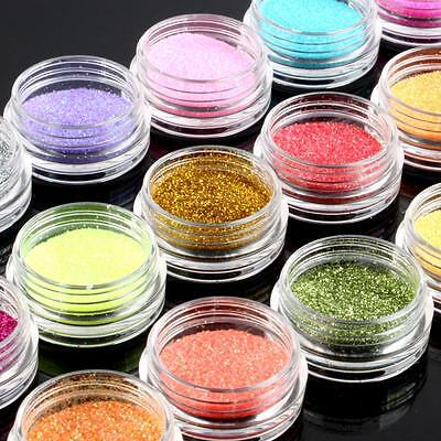 18 Color Polvo Acrílico Glitter Powder Uñas Manicura Nail Art UV Gel Decoración