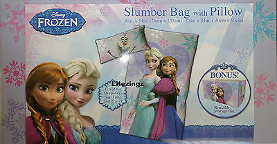 New Official Disney Frozen Slumber Sleeping Bag & Pillow Set + Storage Bin