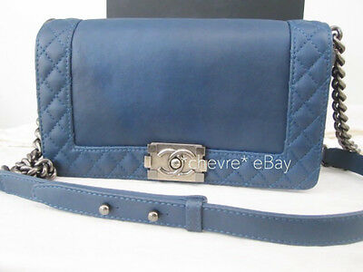 cd170c3637e4 Authentic Chanel Boy Reverso Medium Flap Blue Calfskin Silver Shw Shoulder  Bag