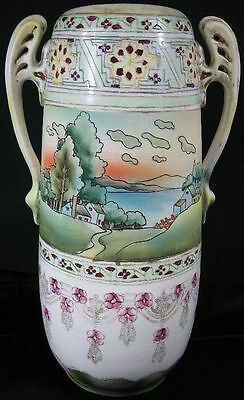 """Antique Large 13"""" Tall Japanese Art Potter MM Hand Painted Nippon Vase"""