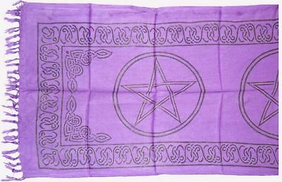 PENTAGRAM Pentacle ALTAR CLOTH 22 x 72 inchs Purple Wiccan Witch Pagan HUGE