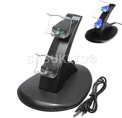 Twin Dual Charging Charger Stand Dock Docking Station Holder LED for Sony PS4