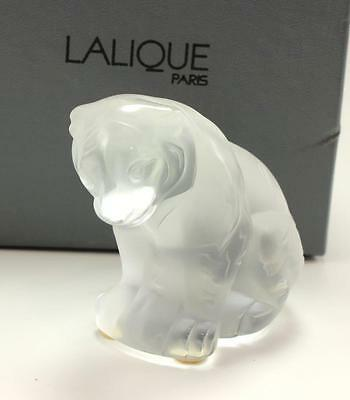Lalique Bengalou Sitting Tiger Cub Clear Frosted Crystal Figurine Paperweight