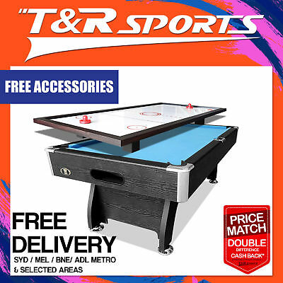 8Ft Blue Pool Table Snooker Billiards Free Air Hockey Top With Fan For Kids