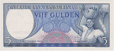 (Wp-82) 1963 Suriname 5 Guilden Bank Note Unc (A)