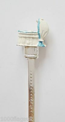 Boy's Blue Baby Crib Hand Painted Silver-Plated Collectors Spoon - T411BHPS