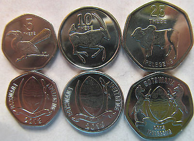 Botswana 2013 Set 3 coins (5+10+25 thebe) UNC
