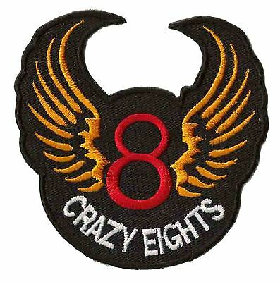 Ecusson patche thermocollant Crazy 8 eights patch brodé