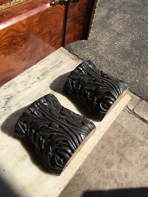 One Pair Antique Carved Oak Decorative Capitals