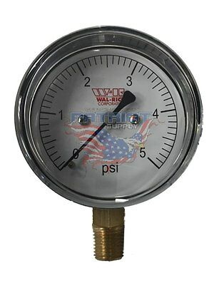 "0-5 PSI Diaphragm Gas Pressure Test Gauge 2-1/2"" Dial X 1/4"" Bottom Mount"