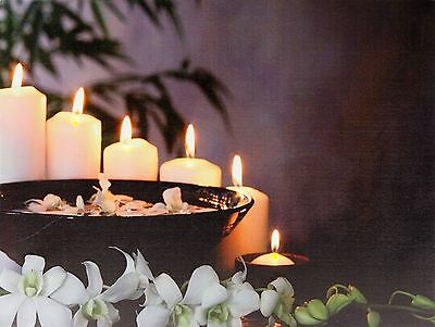 Festive Light LED Canvas Picture Candle Flowers Scene Wall Art Decoration Home