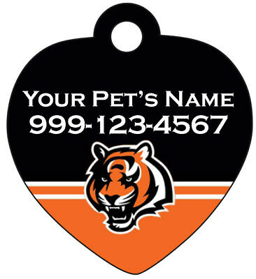 Cincinnati Bengals Pet Id Tag for Dogs & Cats Personalized w/ Name & Number