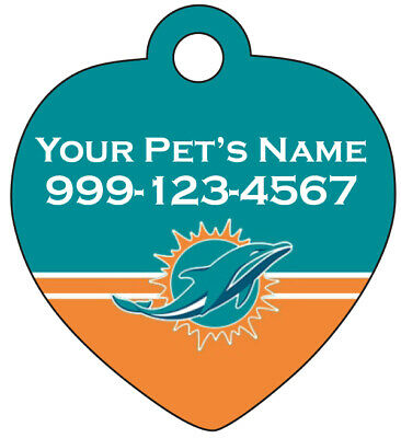 Miami Dolphins Dog Tag Cat Tag Pet Id Tag Personalized w/ Name & Number