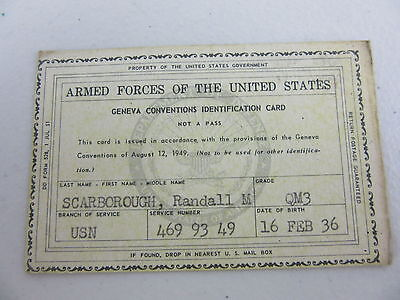 1951 U.S. NAVY Geneva Convention ID Card Armed Forces of the United States