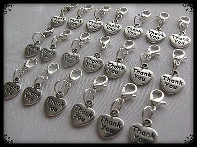 BULK PACKS OF 10/20/50/100 THANK YOU HEART CHARM CLIPS(2.5cm LENGTH X 1cm WIDTH)
