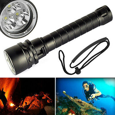 6000LM 3x XM-L2 LED Flashlight Scuba Diving Torch Linterna Buceo 100M Underwater