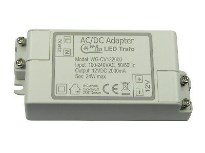 LED TRAFO|12V DC|24W max|Transformator|Netzteil|2A|MR16|GU5.3|Strips|G4|MR11|GU4