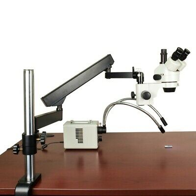 7X-45X Zoom Stereo Trinocular Articulating Microscope 30W LED Dual Fiber Light
