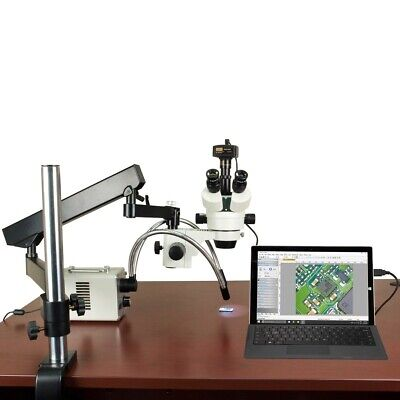 2.1X-225X 14MP Digital Zoom Stereo Articulating Microscope 30W LED Dual Light
