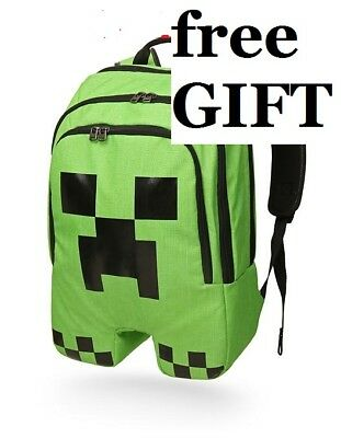 Minecraft Back Pack Green Boys School  Creeper Camping Bag Sport FREE Keychain