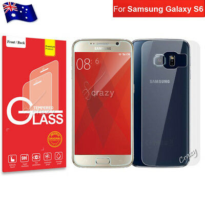 Front and Back Rear Tempered Glass Screen Protector Guard For Samsung Galaxy S6