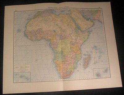 Africa continent 1899 vintage old German antique color litho map colonial